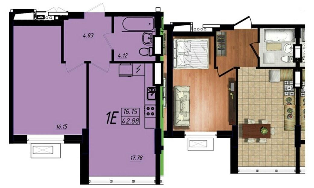 продажа однокомнатной квартиры на улице Жукова марш. пр. лот 93608